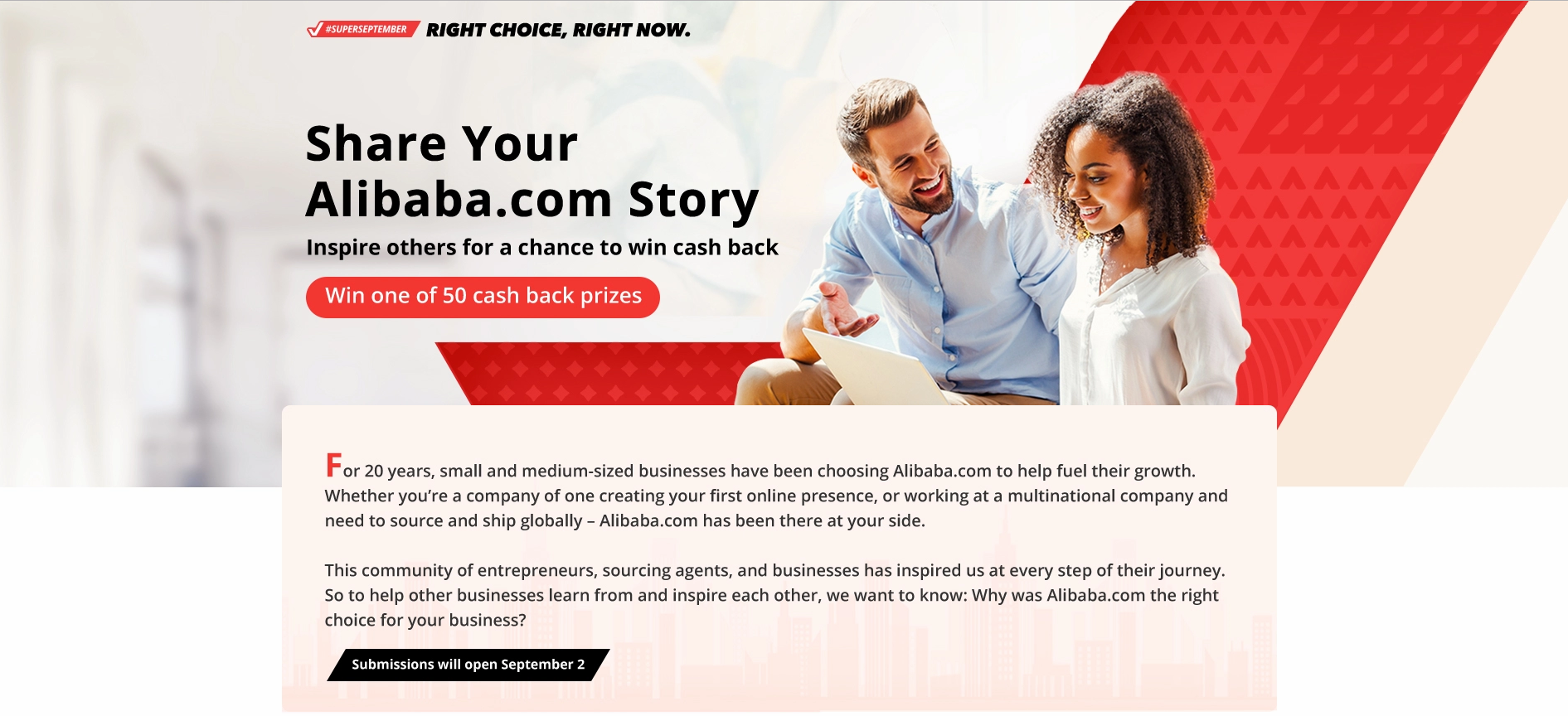 Share Your alibaba Story Inspire others for a chance to win cash back