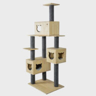 Cat Furniture: new design wooden cardboard pet products 06-0202